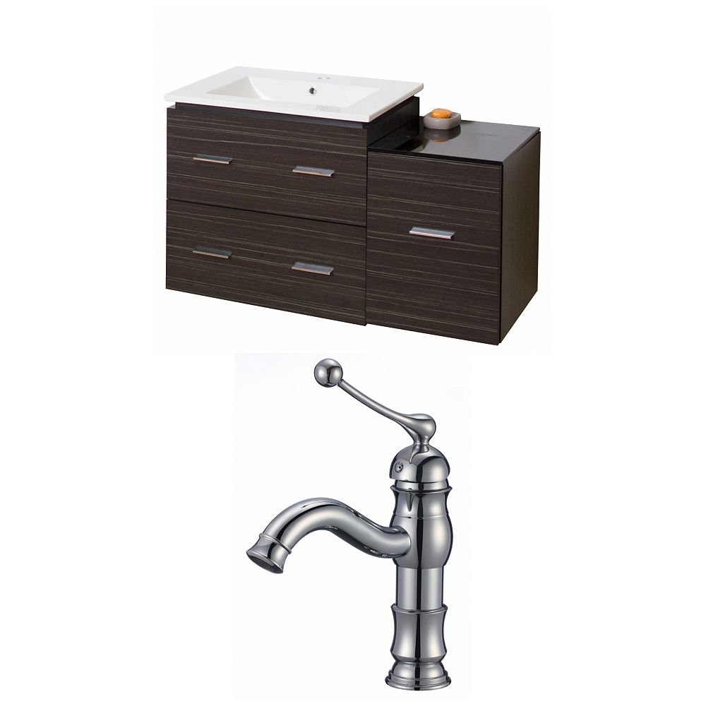 American Imaginations 38-inch W 3-Drawer Wall Mounted Vanity in Grey With Ceramic Top in White With Faucet