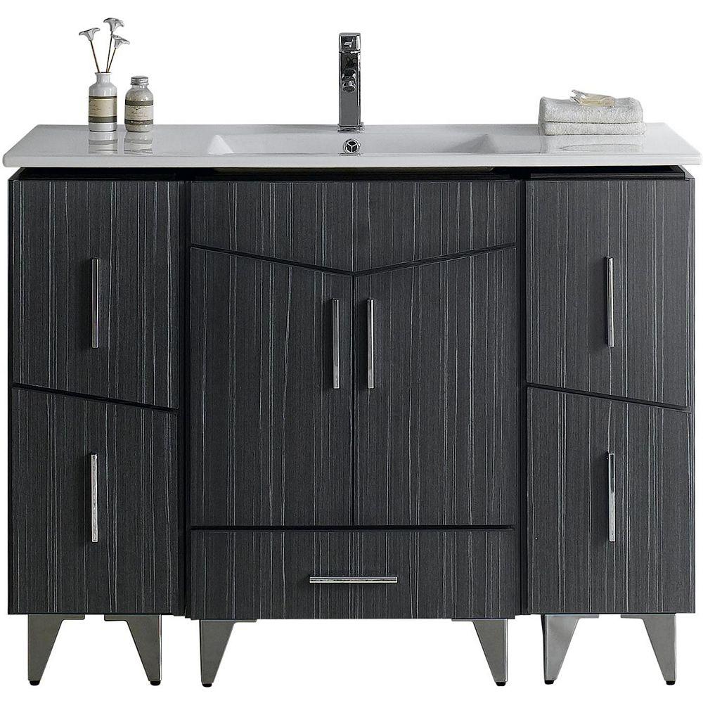 American Imaginations Support de meuble-lavabo contemporain en contreplaqué mélaminé de couleur grise orée