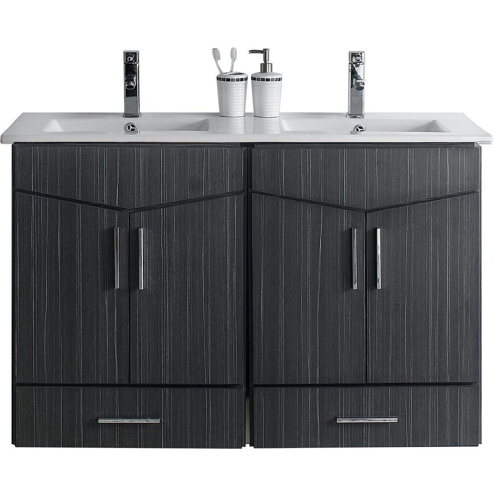 American Imaginations 48-inch W 2-Drawer 4-Door Wall Mounted Vanity in Grey, Double Basins