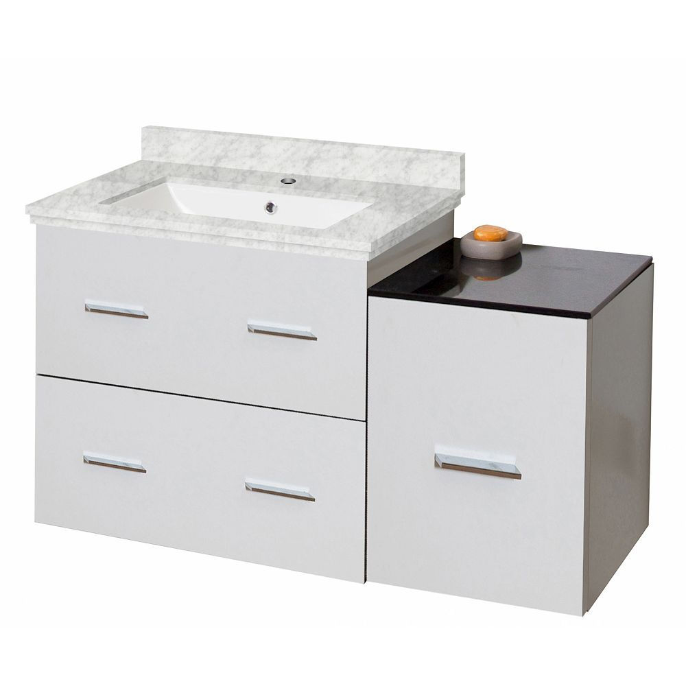 American Imaginations 37-inch W 3-Drawer Wall Mounted Vanity in White