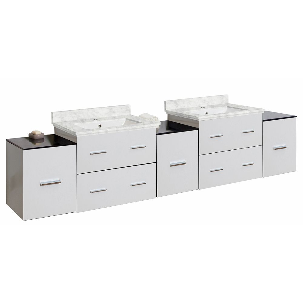 American Imaginations 88-inch W 7-Drawer Wall Mounted Vanity in White, Double Basins
