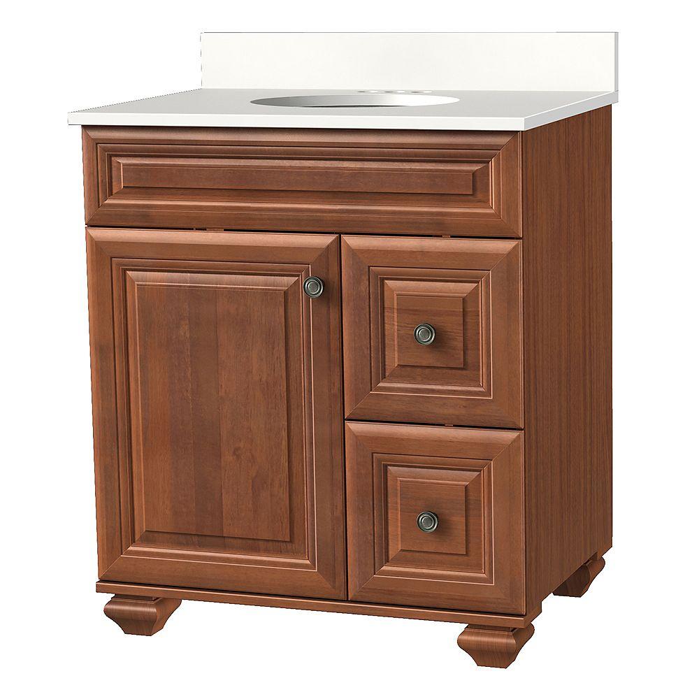 Home Decorators Collection Brentstone 31-inch W 1-Door 2-Drawer Vanity in Mocha with Stone Top