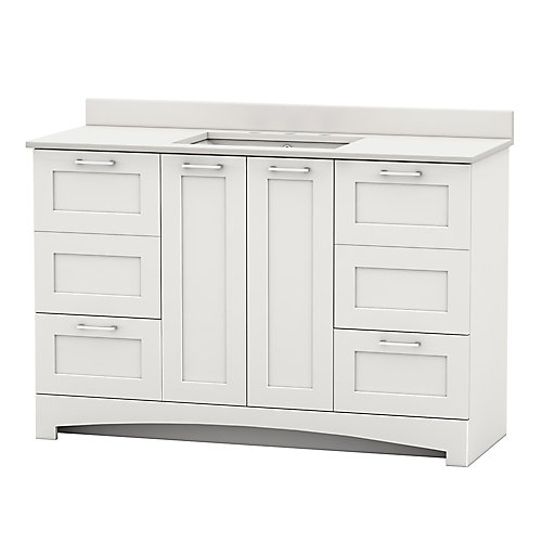 Casotto 49-inch W 4-Door 2-Drawer Vanity in White with White Top