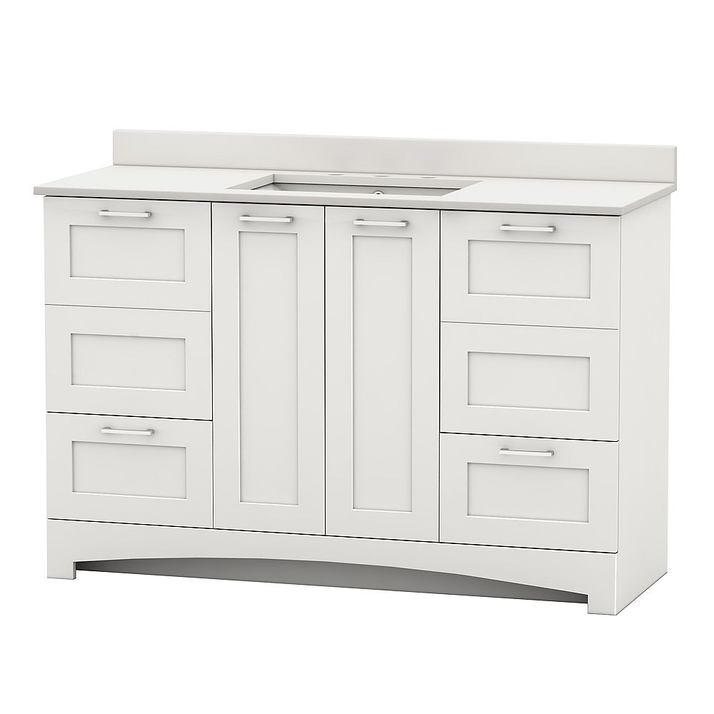 Home Decorators Collection Casotto 49-inch W 4-Door 2-Drawer Vanity in White with White Top