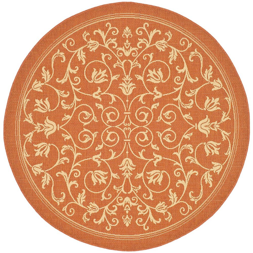 Safavieh Courtyard Marc Terracotta / Natural 7 ft. 10 inch x 7 ft. 10 inch Indoor/Outdoor Round Area Rug