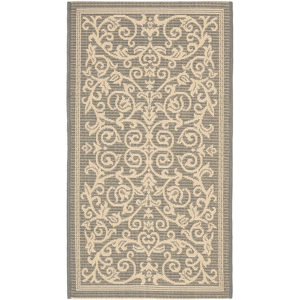 Safavieh Courtyard Marc Grey / Natural 2 ft. x 3 ft. 7 inch Indoor/Outdoor Area Rug