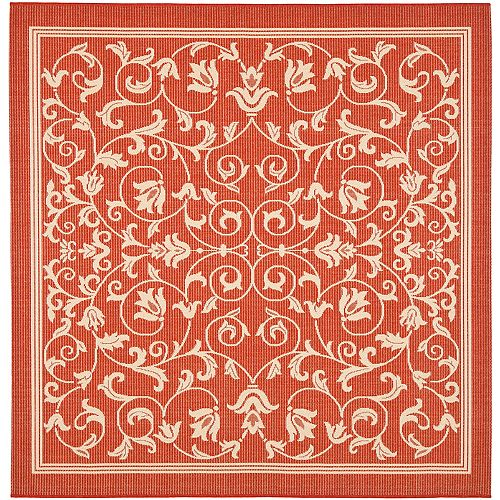 Courtyard Marc Red / Natural 6 ft. 7 inch x 6 ft. 7 inch Indoor/Outdoor Square Area Rug