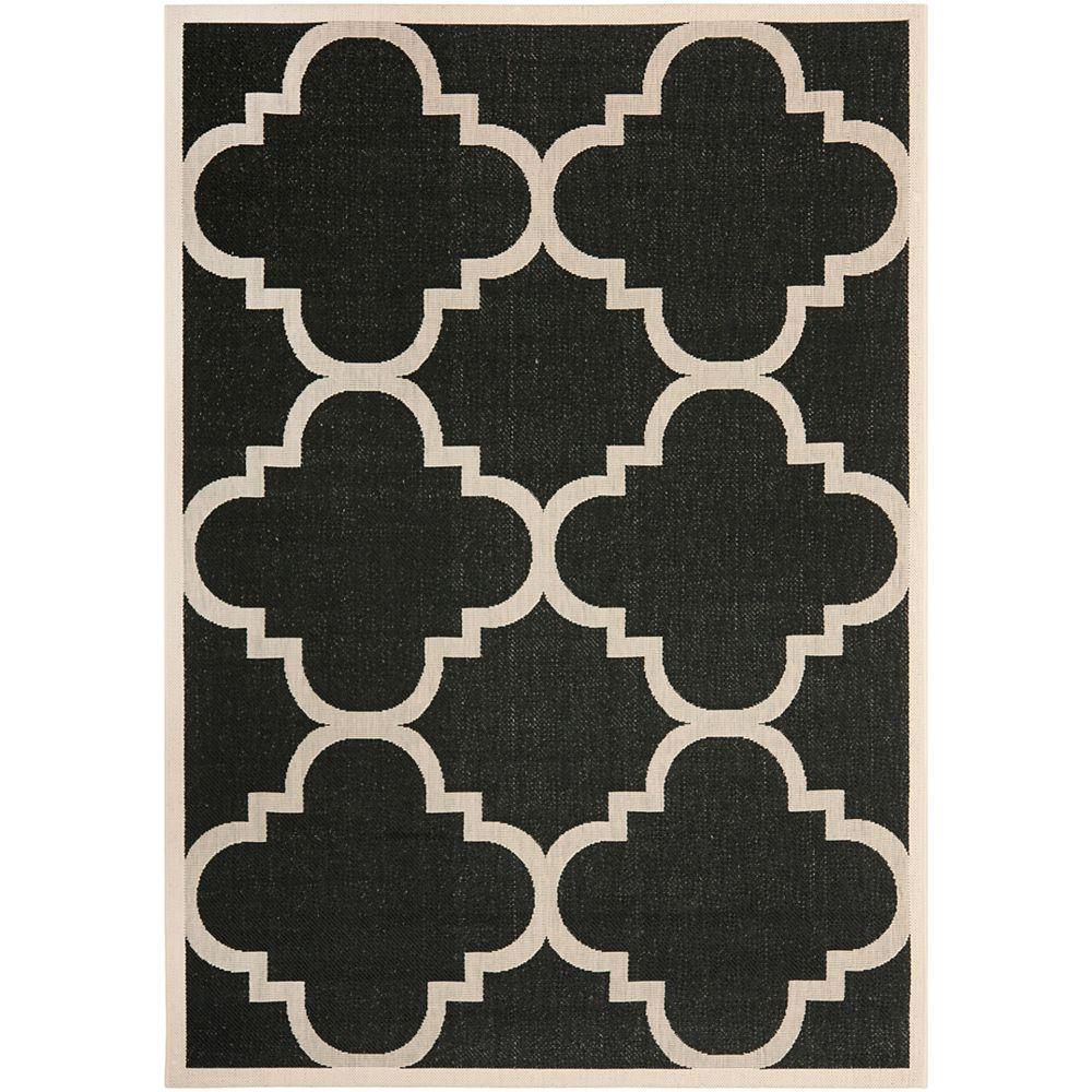 Safavieh Tapis de passage d'intérieur/extérieur, 4 pi x 5 pi 7 po, style transitionnel, rectangulaire, noir Courtyard