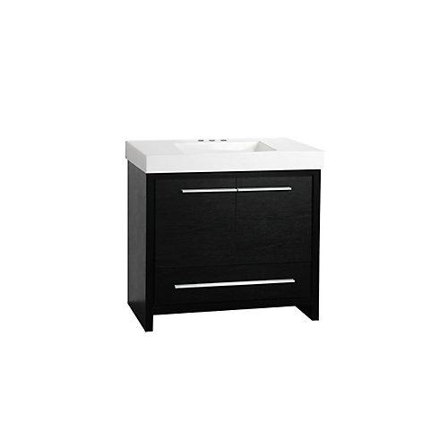 Romali 36-inch W 1-Drawer 2-Door Freestanding Vanity in Black With Ceramic Top in White