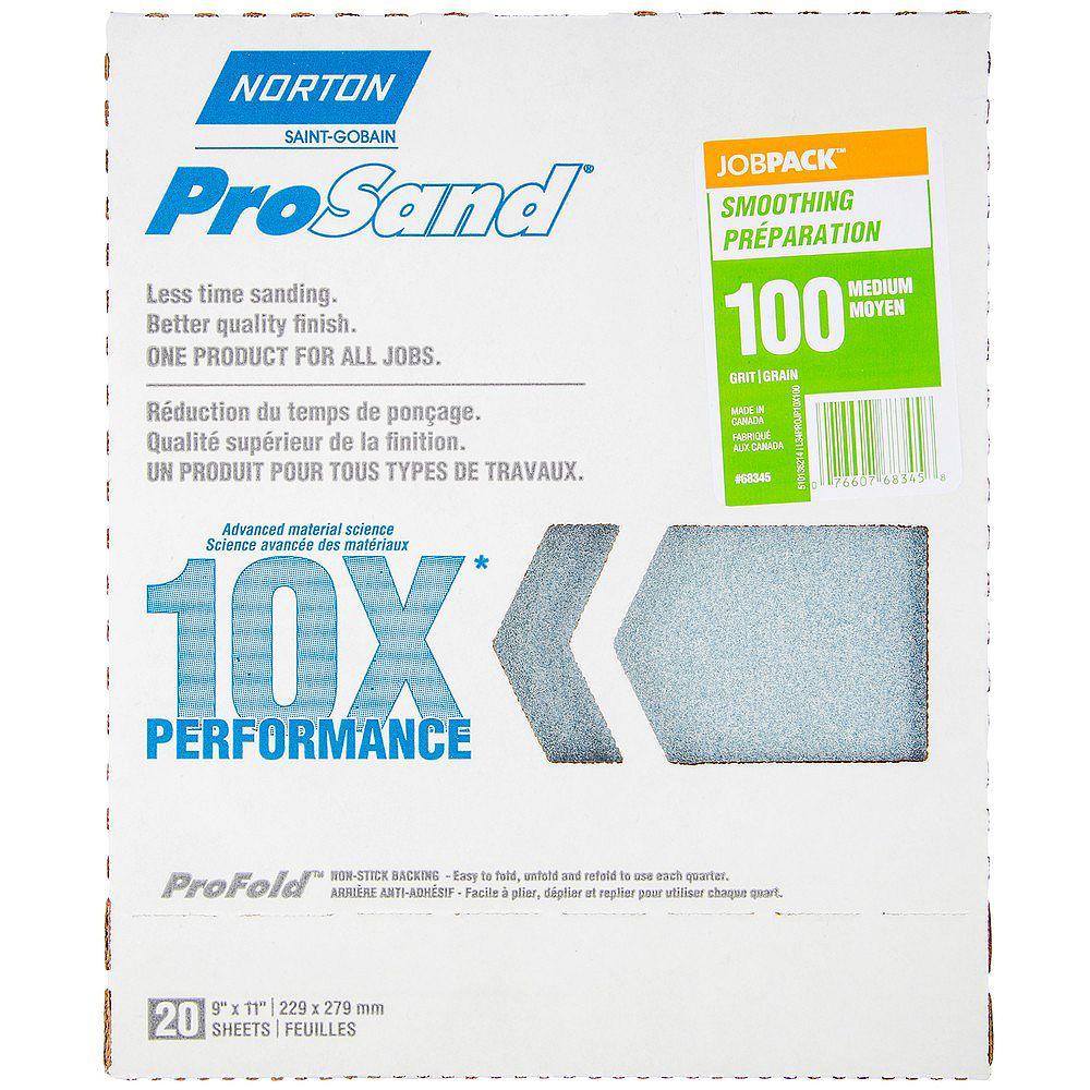 Norton Papier de ponçage Norton ProSand 10X grain 100.Emballage de 20 feuilles.