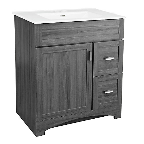 Rocara 30-inch W Vanity in Grey with Vitreous China Top in White and Rectangular Basin