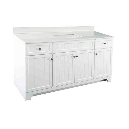 Whitton 60-inch W Vanity Combo with White Engineered Stone Top