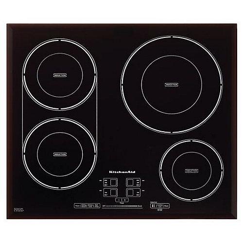 Table de cuisson à induction de 24 pouces en noir avec 4 éléments