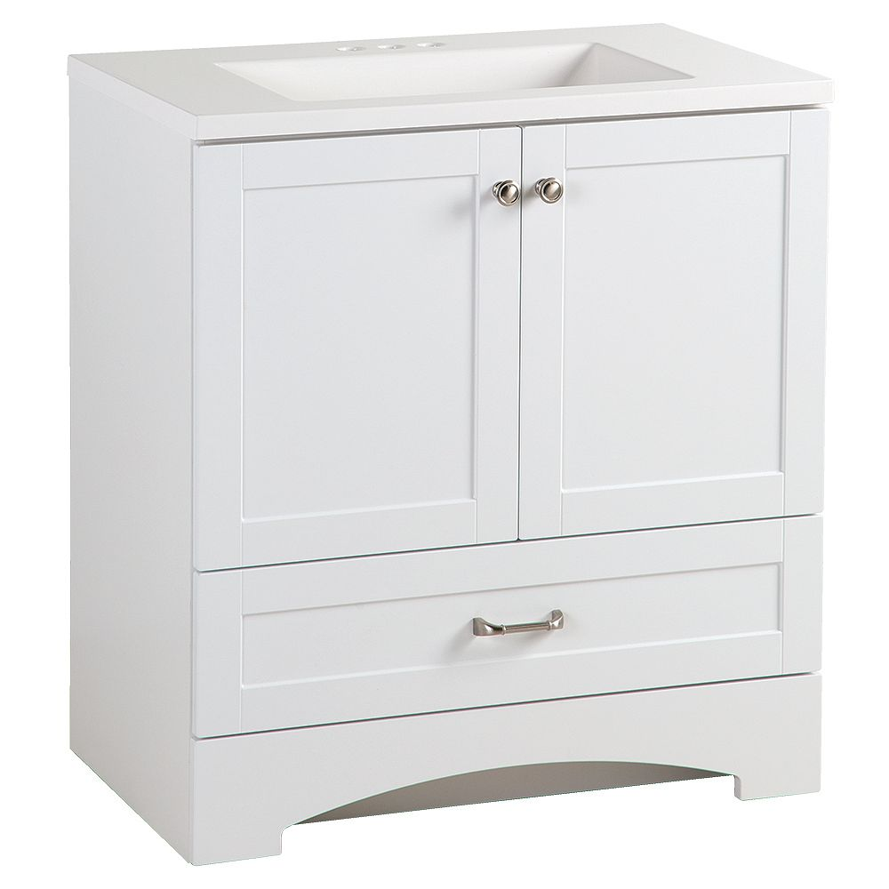 Glacier Bay Lancaster 30-inch W x 19-inch D Bathroom Vanity in White with Cultured Marble Vanity Top in White with White Basin