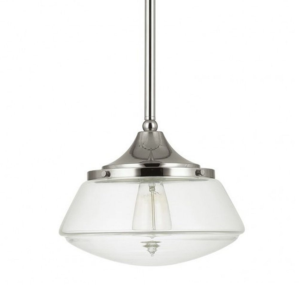 Home Decorators Collection Luminaire suspendu, collection Schoolhouse, nickel poli, une ampoule, 60W, diffuseur en verre clair