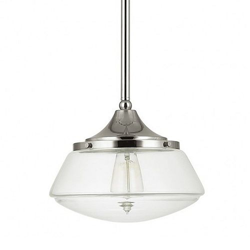 1-Light 60W Polished Nickel Schoolhouse Pendant with Clear Glass Shade