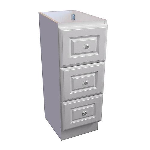 12 inch W Classic Drawer Bank - Matte White