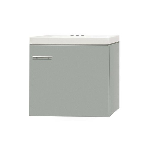 17.50-inch W 1-Door Wall Mounted Vanity in Grey With Artificial Stone Top in White