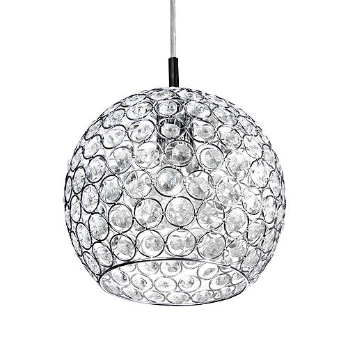 Home Decorators Collection 1-Light 60W Chrome Pendant with Crystal Dome Shade