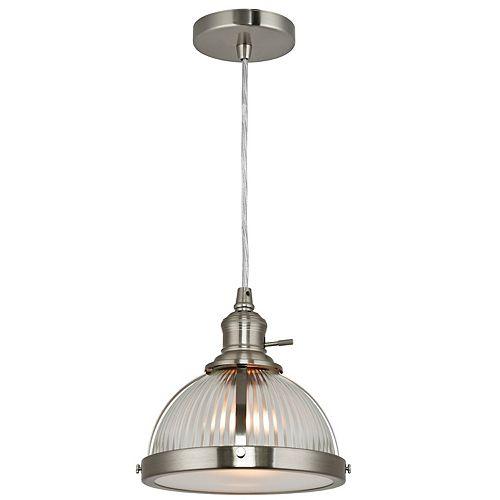 Luminaire suspendu, nickel brossé, une ampoule, 60W, diffuseur en verre Holophane