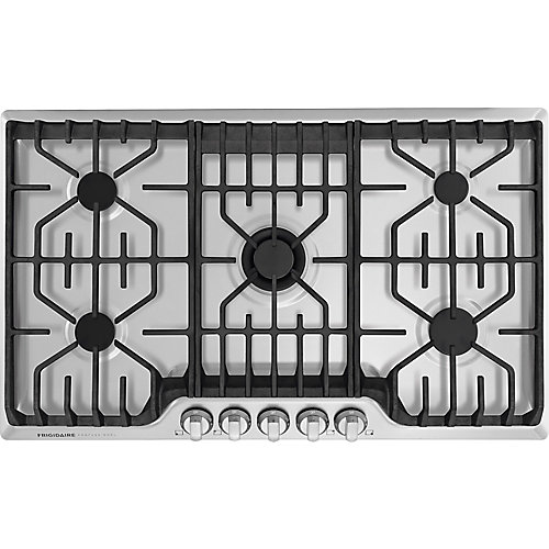 36-inch Gas Cooktop with Griddle in Stainless Steel with 5 Burners