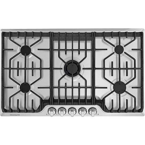 Frigidaire Professional 36-inch Gas Cooktop with Griddle in Stainless Steel with 5 Burners