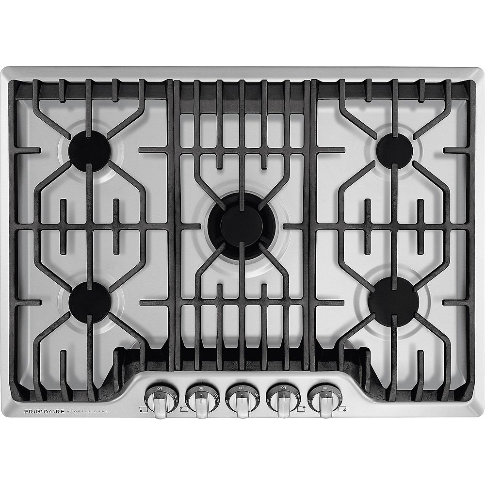 Frigidaire Professional 30-inch Gas Cooktop with Griddle in Stainless Steel with 5 Burners