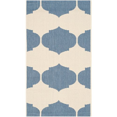 Safavieh Courtyard Irene Beige / Blue 2 ft. x 3 ft. 7 inch Indoor/Outdoor Area Rug