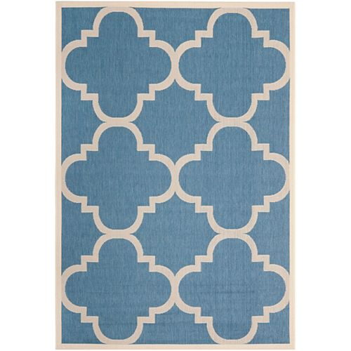 Courtyard Alex Blue / Beige 4 ft. x 5 ft. 7 inch Indoor/Outdoor Area Rug
