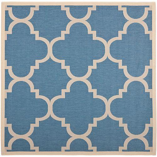 Tapis de passage d'intérieur/extérieur, 4 pi x 4 pi, style transitionnel, rond, bleu Courtyard