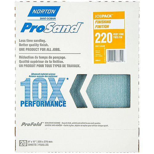 Feuilles à ponçer ProSand 10X grain 220 emballage de 20.