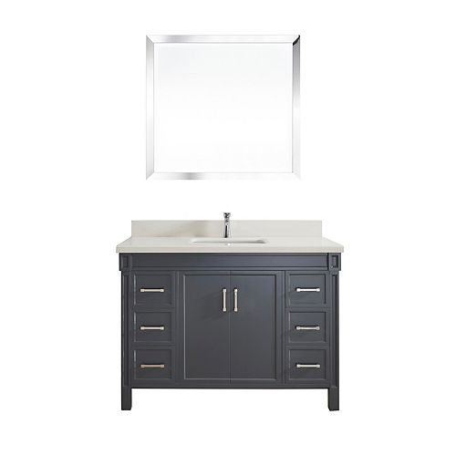 Serrano 48-inch W 6-Drawer 2-Door Freestanding Vanity in Grey With Quartz Top in Off-White