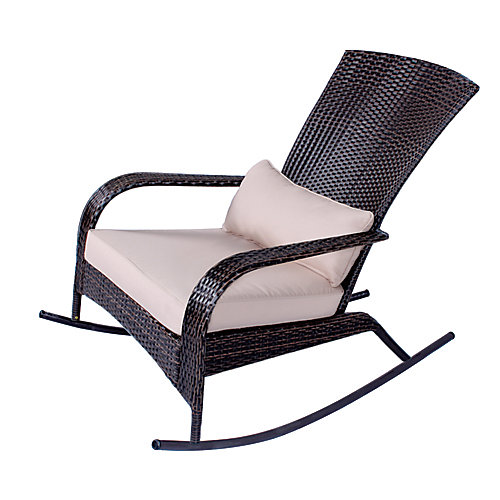 Muskoka Collection Rocker in Brown Wicker with Beige Cushion