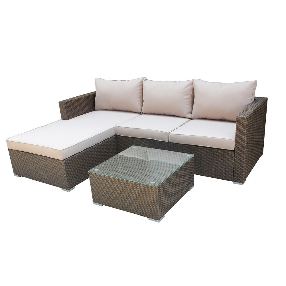 Patio Flare Olivia Deep Seating Outdoor Sectional in Brown Wicker with Beige Cushions