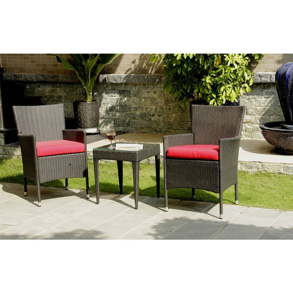 Patio Flare Let's Relax Patio Chat Set in Black Wicker with Red Cushions