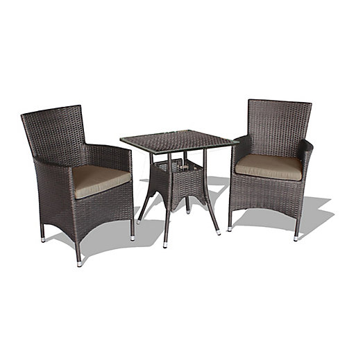 Kevin Square Patio Bistro Set in Brown Wicker with Beige Cushions