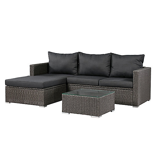 Emmett Deep Seating Patio Sofa Sectional Set with Storage in Dark Grey with Grey Cushions