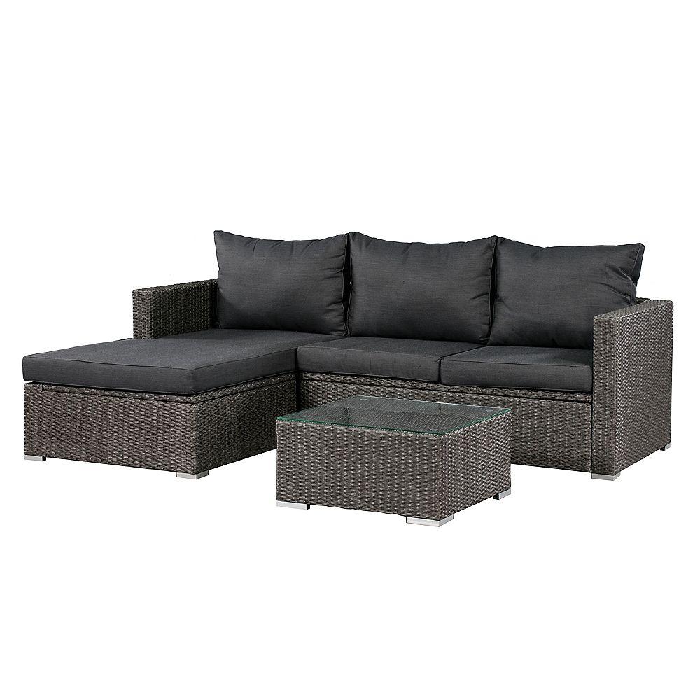 Patio Flare Ensemble de sofas d'extérieur Emmettt de Patioflare, osier gris et coussins gris foncés