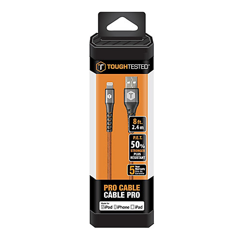 8 ft. PRO Armor Weave Cable With Slim Tip: Lightning-8 Pin