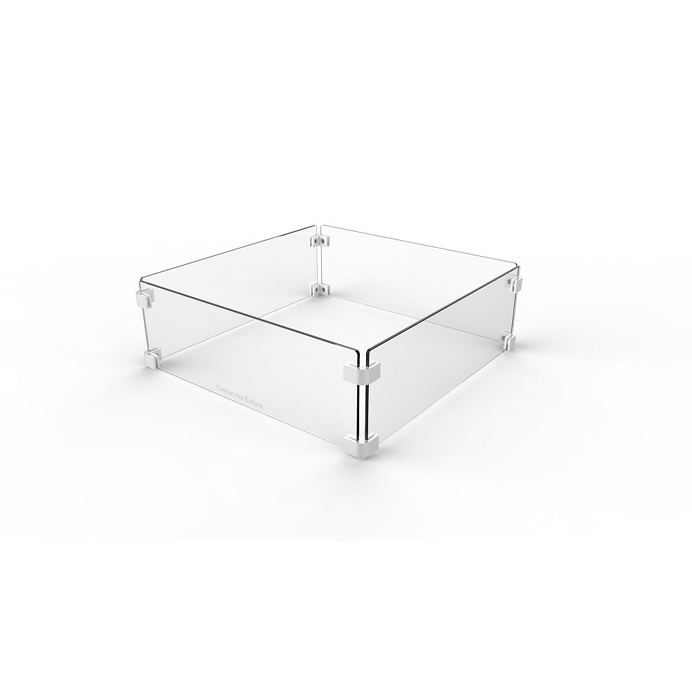 Paramount Pare-vent carré en verre de 22 pouces pour tables de puits d'incendie