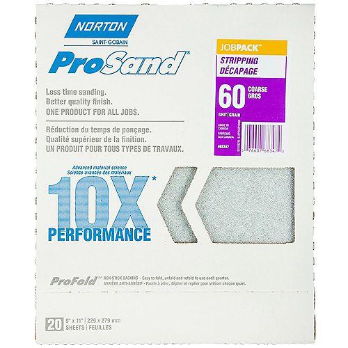 Feuilles à ponçer ProSand 10X grain 60 emballage de 20.
