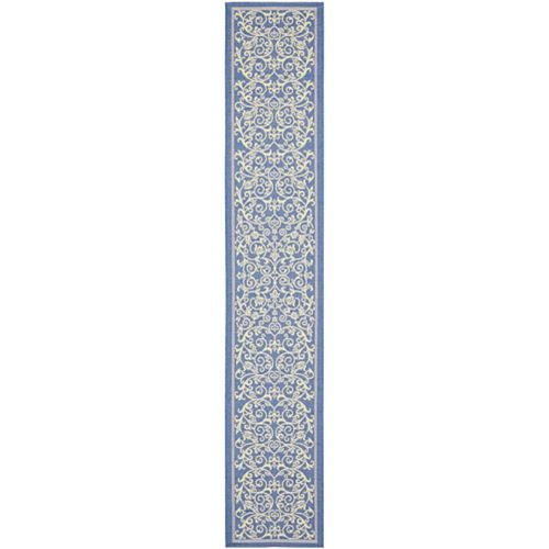 Courtyard Marc Blue / Natural 2 ft. 3 inch x 14 ft. Indoor/Outdoor Runner