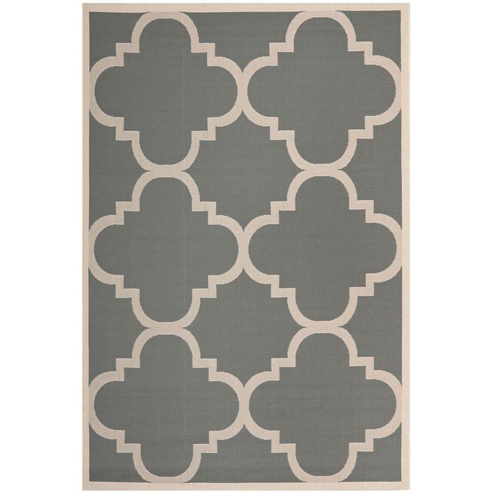 Safavieh Tapis de passage d'intérieur/extérieur, 5 pi 3 po x 7 pi 7 po, style transitionnel, rectangulaire, gris Courtyard