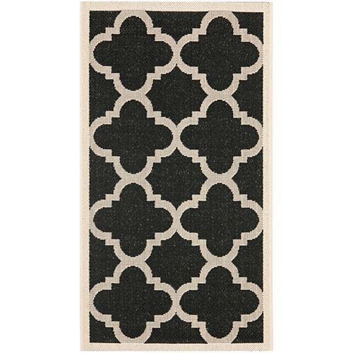 Safavieh Courtyard Alex Black / Beige 2 ft. x 3 ft. 7 inch Indoor/Outdoor Area Rug