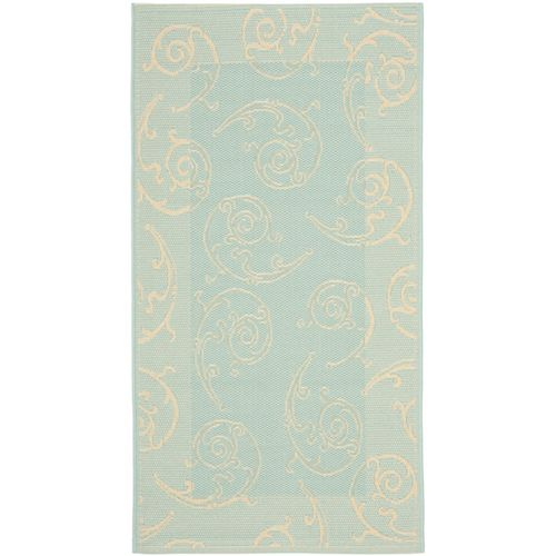 Safavieh Courtyard Jaden Aqua / Cream 4 ft. x 5 ft. 7 inch Indoor/Outdoor Area Rug
