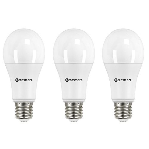Ecosmart 100W Equivalent Soft White (2700K) A19 Non-Dimmable LED Light Bulb (3-Pack)