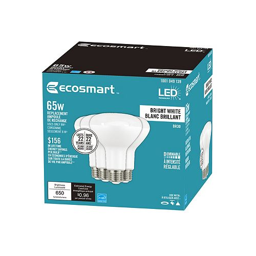 65W Equivalent Bright White (3000K) BR30 Dimmable LED Light Bulb (4-Pack) - ENERGY STAR
