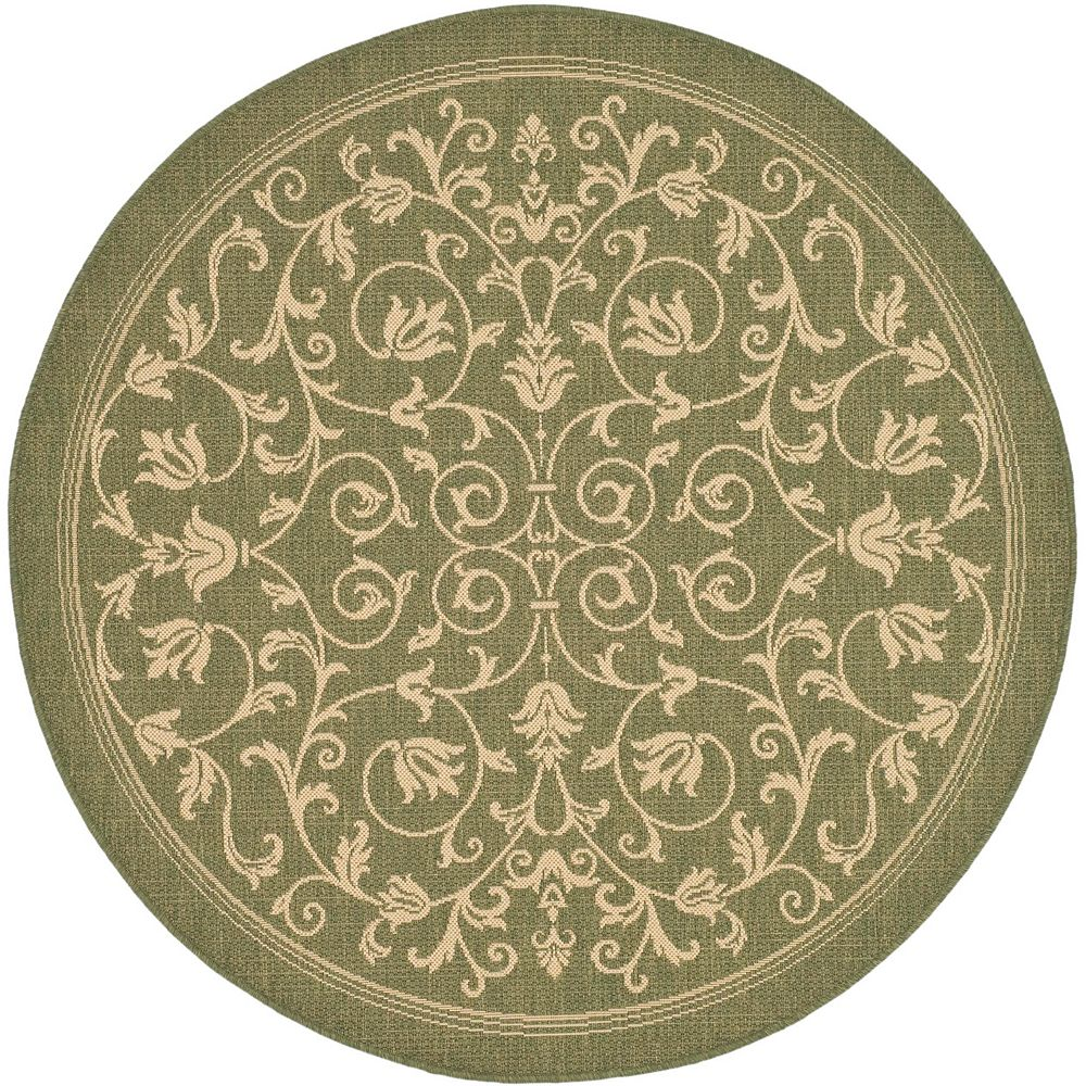Safavieh Courtyard Marc Olive / Natural 7 ft. 10 inch x 7 ft. 10 inch Indoor/Outdoor Round Area Rug