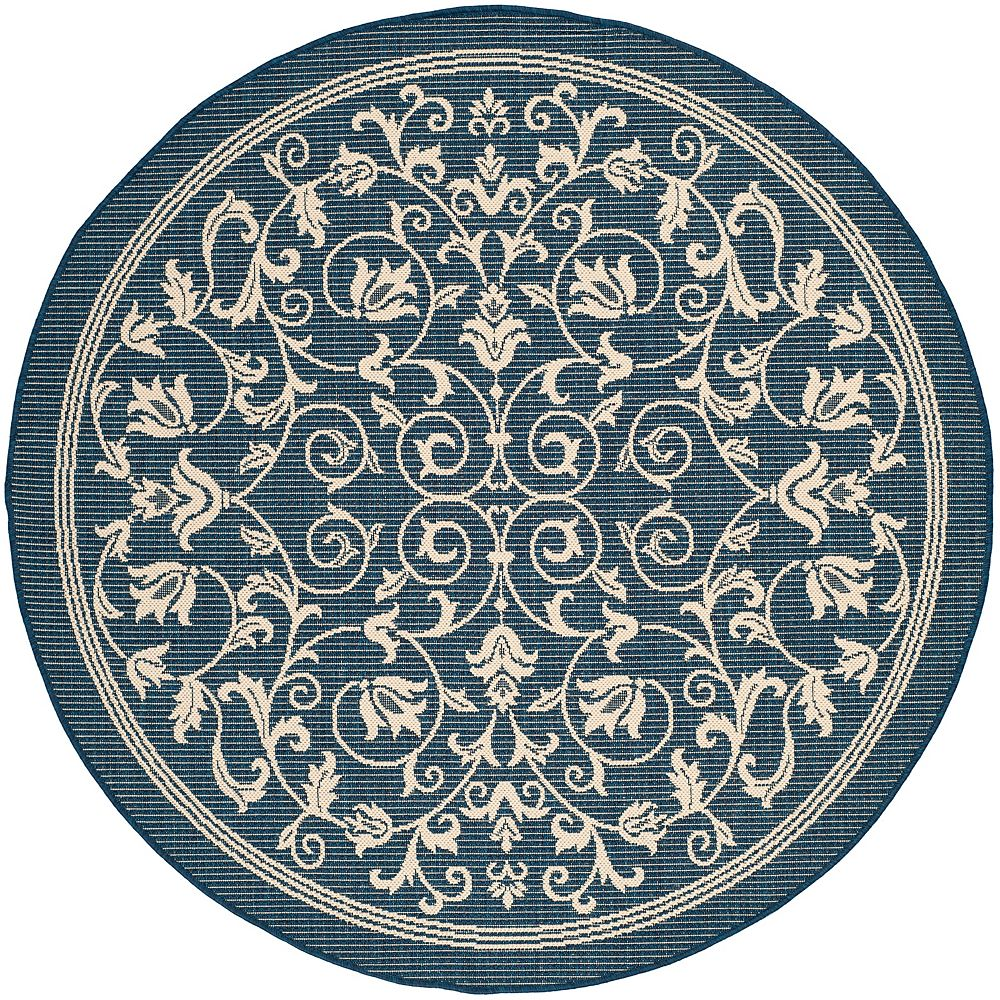 Safavieh Courtyard Marc Navy / Beige 5 ft. 3 inch x 5 ft. 3 inch Indoor/Outdoor Round Area Rug
