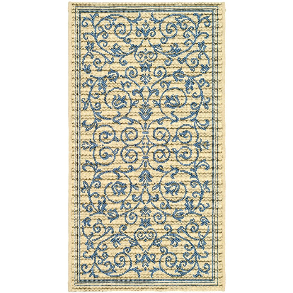 Safavieh Courtyard Marc Natural / Blue 2 ft. x 3 ft. 7 inch Indoor/Outdoor Area Rug